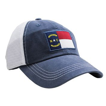 North Carolina Flag Trucker Hat in Navy by State Traditions