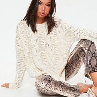 Missguided - Cream Boyfriend Cable Knitted Sweater