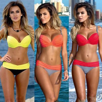 Bikini 2017 Women Swimsuit Push Up Swimwear Women Sexy Bandeau halter biquini Brazilian Bikini Set Beach Bathing Suit Swim Wear
