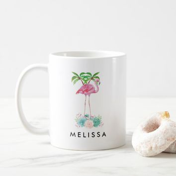 Pink Flamingo Palm trees and Floral Succulents Coffee Mug