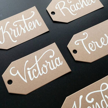 Personalized tags, hand lettered customizable tags, gift tags, favor tags, holiday tags, wedding party tags, groomsman and bridesmaid tags.
