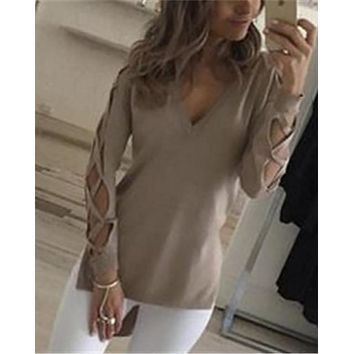 Charlotte's Web Long Sleeve Slit Hem Blouse