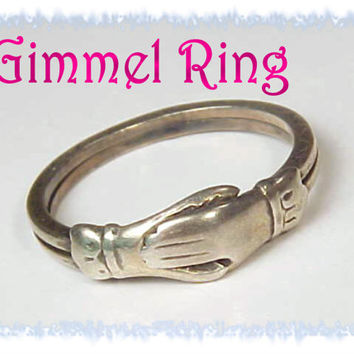 1800s GIMMEL - Fede Clasped Hands Betrothal Silver Love Ring ~ Pennsylvania Antique Estate