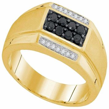 10kt Yellow Gold Men's Round Black Color Enhanced Diamond Rectangle Cluster Ring 3/8 Cttw - FREE Shipping (US/CAN)