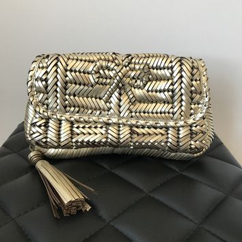 Anya Hindmarch Gold Woven Leather Rossum Clutch
