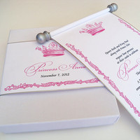 Royal princess birthday invitation scroll with crown in pink and silver, elegant suite for birthday, baby shower or birth announcement (25)