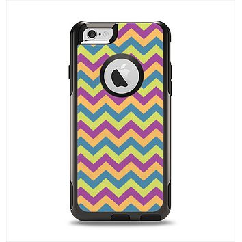 The Retro Colored Green & Purple Chevron Pattern Apple iPhone 6 Otterbox Commuter Case Skin Set