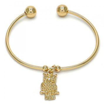 Gold Layered 07.63.0141 Individual Bangle, Owl Design, Polished Finish, Golden Tone (02 MM Thickness, One size fits all)