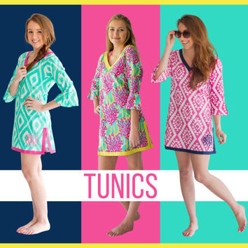 Monogrammed Tunic, FREE Monogramming and Shipping! Lilly Pulitzer inspired print, Monogrammed beach cover up, Lilly inspired swim cover up