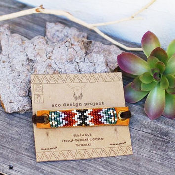 BLB-01,FREE U.S SHIPPING, Native American inspired handmade beaded leather bracelet,tribal,southwestern,boho,hippie style,brown,black