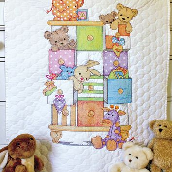 "Baby Drawers Dimensions/Baby Hugs Quilt Stamped Cross Stitch Kit 34""X43"""