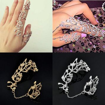New Fashion Punk Rock Gothic Gold Silver Hollow Carved Flowers Double Full Finger Knuckle Armor Ring
