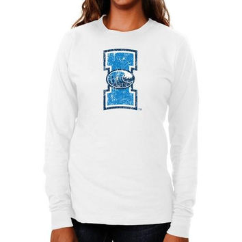 Texas A&M Corpus Christi Islanders Ladies Distressed Logo Vintage Long Sleeve Slim Fit T-Shirt - White