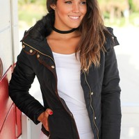 Black Quilted Jacket with Fur Collar