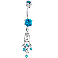 925 Sterling Silver Aquae CZ Dangle Chandelier Belly Ring | Body Candy Body Jewelry