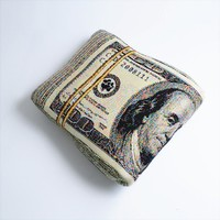 Folded Banknote Shape Pillow US dollar by chicsindesigndotcom