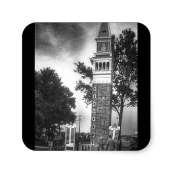 BLACK AND WHITE TOWER SQUARE STICKER