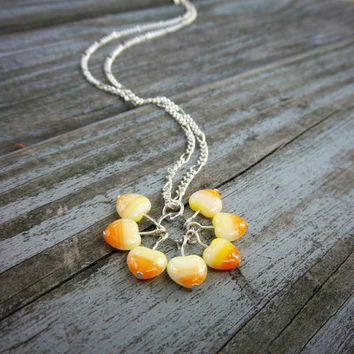 Halloween Heart Candy Corn Lover Silver Chain Necklace Christmas in July