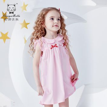 Cai Yubeila children's wear 2019 summer new Tongqun after the opening of the bow bow little sleeved girl dress