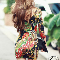 Sexy Floral tight Dress GG731EH