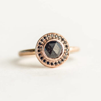 SUMMA ARMA -Rustic Diamond Ring Rose Cut Diamond Unique Engagement Ring Ethical Recycled Metal Conflict Free