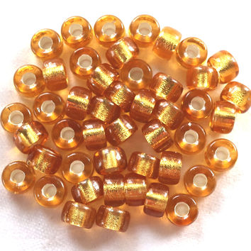 Lot of 25 9mm light Topaz Silver Lined Czech glass pony beads, crow or roller big, large hole beads C3501