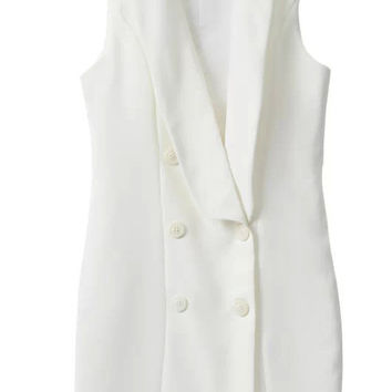 Brief Deep V-Neck Sleeveless Dress in White or Black