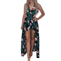 Women Boho Strapless Jumpsuit Printing Playsuit Dress Summer Beach Rompers
