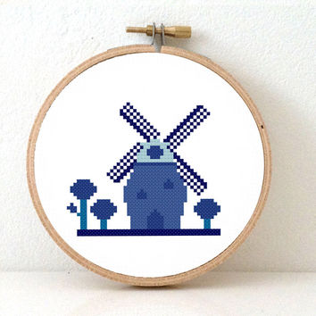 Modern cross stitch pattern Delft Blue Windmill & tree, Make this Holland memoria gift for him or her. Pattern in English, Spanish, Dutch