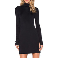 Cathleen Silk Elastane Turtleneck Dress in Ink