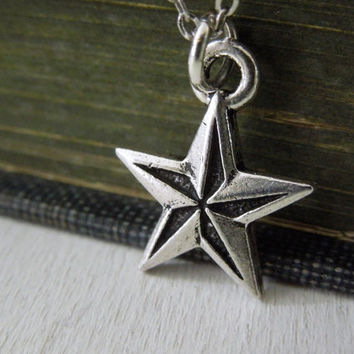 Nautical Star Necklace - Antiqued Silver Pewter Star Charm Necklace Delicate Silver Chain