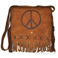 Leather Peace Fringe Shoulder Bag