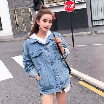 Autumn Loose Oversized Denim Jacket Women 2017 Fashion Boyfriend Female Jeans Jacket Fall Casual Coat For Ladies