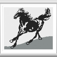 Horse Y615153 Cross Stitch Pattern, Silhouette Cross Stitch, Ornamental, Abstract, Horse Pattern, Modern Cross Stitch, Black White, Animal