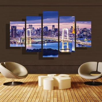 (NOT Framed or Stretched) 5Pieces New York City Brooklyn Bridge Canvas Wall Art Print Night Home Decor Wall Poster Pop Art
