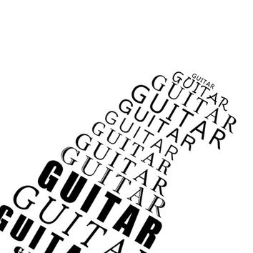 Guitar print Typographic print Music art Music print Instant download Gift for music lover Living room decor Black and white print