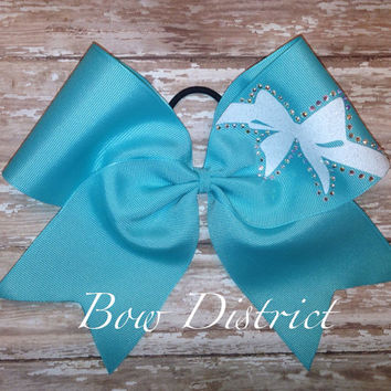 Robins Egg Tiffany Blue Cheer Bow with Rhinestones