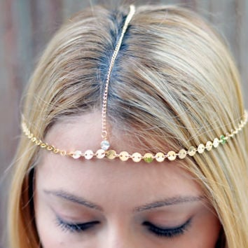 Gold Small Coins Hair Chain Crystal Diamond Hair Jewelry Sexy Head Boho Festival Prom Wedding Headpiece head chain