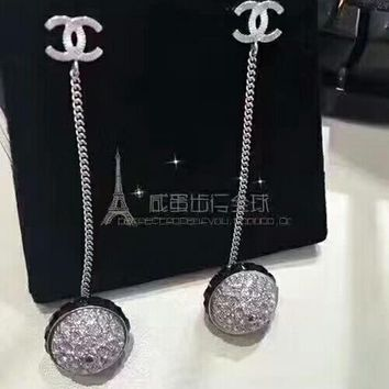 The new arrive Chanel Rhinestone Stylish Ladies Logo CC crystal brick Ball Earrings drop Jewelry
