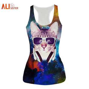 Alisister New Design Cat Vest 3d Pizza Galaxy Print Tank Tops Women Summer Sleeveless Tees Free Size Brand Clothing Dropship