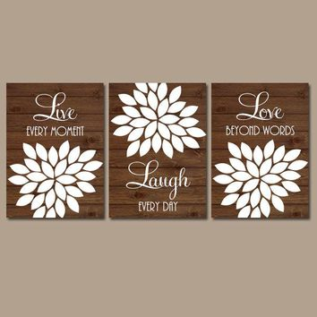 Live Laugh Love Wall Art, Kitchen Quote Decor, Bathroom Pictures, CANVAS or Prints, Girl Nursery Art, Set of 3, Above Crib Decor Wall Decor
