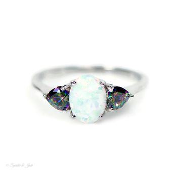 Sterling Silver 8mm Created Opal and Rainbow Mystic Topaz Heart Ring