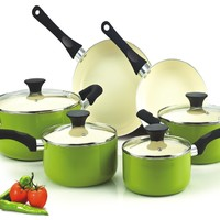 Cook N Home NC-00358 Nonstick Ceramic Coating PTFE-PFOA-Cadmium Free 10-Piece Cookware Set, Green:Amazon:Kitchen & Dining