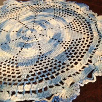 Vintage Doily, shades of blue, blue variegated doily, thread crochet doily, star doily