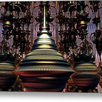 The Hookah Lounge - 3-D Fractal Image - 40 x 24 inch Metal Print By Lyle Hatch @ Fine Art America