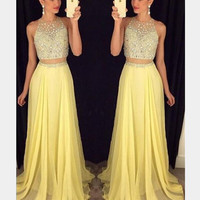 Two Pieces Sexy Mermaid O Neck Long Prom Dress Sparkly Crystal Beaded 2 in 1 Sleeveless Evening Formal Party Gowns Dresses 2016