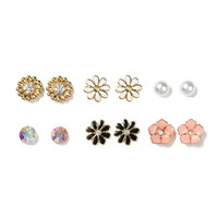 Flower, Pearl and Crystal Stud Earrings Set of 6