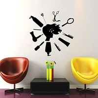 Wall Decal Vinyl Sticker Decals Makeup Hair Dryer Hairbrush Scissors Fashion Cosmetic Hairdressing Make Up Beauty Salon Decor Wall Stickers Home Decor Art Bedroom Design Interior Wall Decor Mural