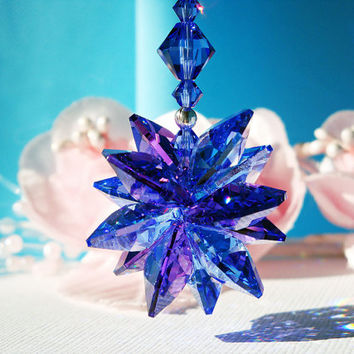 Crystal Rear View Mirror Car Suncatcher Charm Swarovski Sapphire Blue Car Accessories