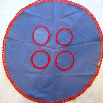 Vintage Round Table Cloth with Coasters Handmade Blue Crochet